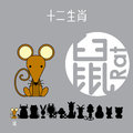 Chinese zodiac sign rat with Chinese character `rat`.
