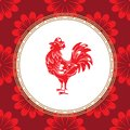 Chinese zodiac sign year of the rooster. Red cock with white ornament