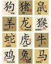 Chinese zodiac signs Stock Images