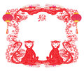 Chinese zodiac signs: monkey Royalty Free Stock Photo