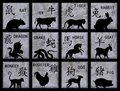 Chinese Zodiac symbols Stock Images