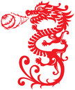 Chinesische art dragon breathing fire ball illustrat Stockbilder