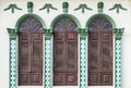 Chino portuguese style architecture retro wooden windows and decoration in Royalty Free Stock Photos
