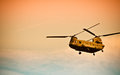 Chinook flying into the sunset flies Stock Photo