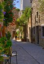 Cobblestone alley in Medieval village of Mesta Royalty Free Stock Photo