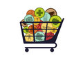 Chip basket isolated with goods icons Stock Photo