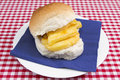 Chip butty a traditional british sandwich made in a crusty roll Stock Photo