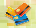 Chip card illustration of three cards with magnetic strip Royalty Free Stock Images