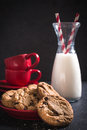Chip chocolate cookies in the plate selective focus Stock Photo