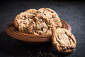 Chip cookies homemade chocolate in the wooden plate selective focus Stock Photo