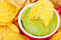 Chip in Guacamole Macro Stock Images