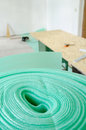 Chipboard floor installation Royalty Free Stock Photos
