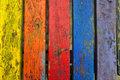 Chipped paint wood texture colorful planks weathered wooden boards abstract background Stock Photography