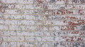 Chipped red white grey blue paint brick wall rustic painted Stock Photography