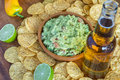 Chips beer dip guacamole and Royalty Free Stock Photography