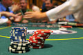 Chips at a gambling table Royalty Free Stock Photo