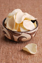 Chips in old bowl Royalty Free Stock Photo