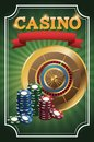 Chips and roulette for poker and casino game design Royalty Free Stock Photo