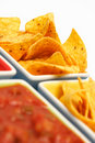 Chips with Salsa Dip Stock Photo