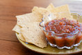 Chips and salsa a small snack plate of Royalty Free Stock Photo