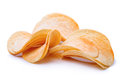 Chips on white potato isolated background Royalty Free Stock Images