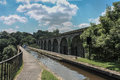 Chirk viaduct aqueduct via on england welsh border in the united kingdom Stock Image