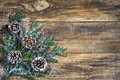 Chirstmas background with pine cones and fir tree branch Royalty Free Stock Photo