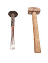 Chisel and hammer used isolated on white background Stock Photography