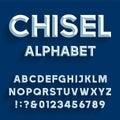 Chiseled Alphabet Vector Font. Royalty Free Stock Photo