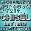 Chiseled letters an alphabet set of block and numbers Stock Photo