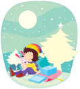 Chistmas girl illustration of at time Stock Image
