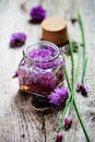 Chives blossom vinegar making from fresh ingredients Stock Photography