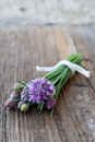 Chives bunch of with flowers on wooden background Stock Image