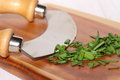 Chives chopped on wooden chopping board A Royalty Free Stock Photo
