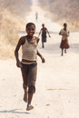 Chobe botswana october poor african children wander t through the desert like national park this year was declared as a Royalty Free Stock Photos