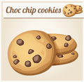 Choc chip cookies detailed vector icon series of food and drink and ingredients for cooking Stock Image