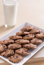 Choc chip cookies and milk on a white plate a glass of Royalty Free Stock Photography