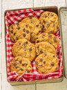 Choc chip cookies in a tin box Royalty Free Stock Photography