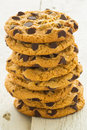 Choc chip cookies tower a stack of Stock Photography