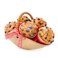 Choc chip muffins basket isolated white Stock Images