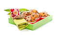 Choc chip muffins green wooden box napkin tulip Stock Image