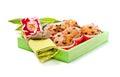Choc chip muffins green wooden box napkin tulip Stock Image