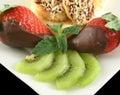 Choc Strawberries And Kiwi Fruit Royalty Free Stock Photo