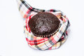 Choccolate babana cup cake isolate on white background with scott cloth Stock Images