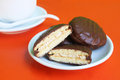 Choco pie cookies stuffed with cream Stock Image