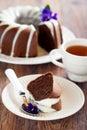 Chocolade bundt cake Stock Afbeelding