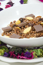 Chocolade cereal with milk in a white bowl Stock Photos
