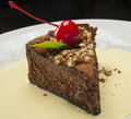 Chocolat cake with cherry and nuts Stock Images