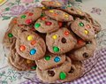 Chocolat cookies with colored drops