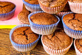 Chocolat muffins wooden table Stock Images